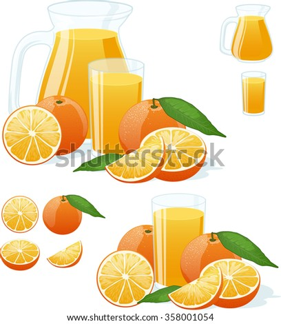 glass and pitcher of fresh orange juice with juicy fruits vector isolated illustrations set - stock vector