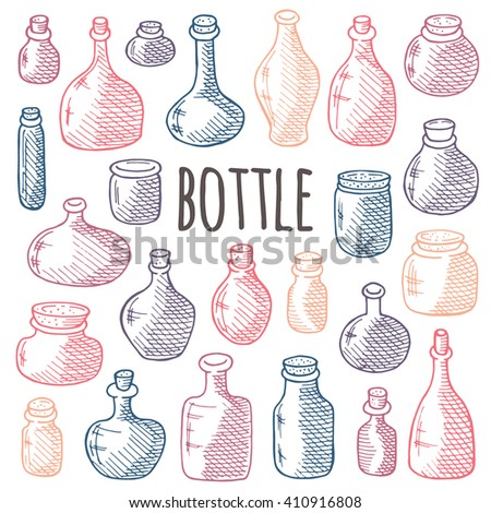 Glass and plastic bottles set. Hand drawn vector illustration. Different containers for your design. - stock vector