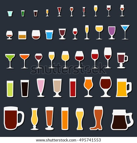 glass and wineglass icon set