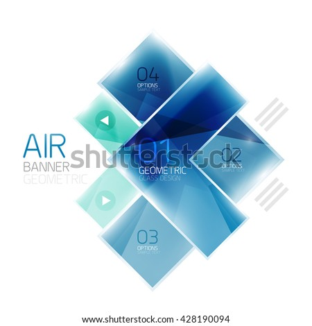 Glass arrow design template. Business infographic template - stock vector