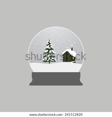 glass ball with snow with tree and house - stock vector