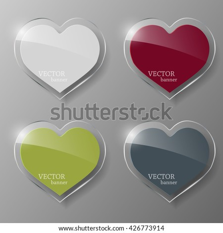Glass banner set in the form of heart. Vector illustration. - stock vector