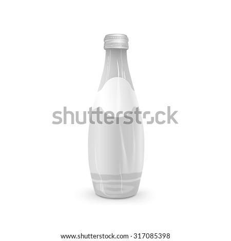 glass beverage bottle with blank label isolated on white background - stock vector