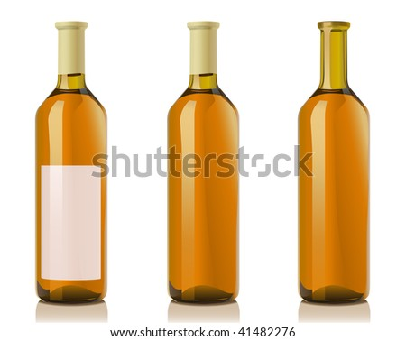 Glass Bottle for muskat wine. Serie of images. You can find many various types of realistic vector illustrations of wine bottles in my portfolio.