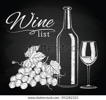 Glass bottle wine grapes on chalkboard stock vector for Wine chalkboard art