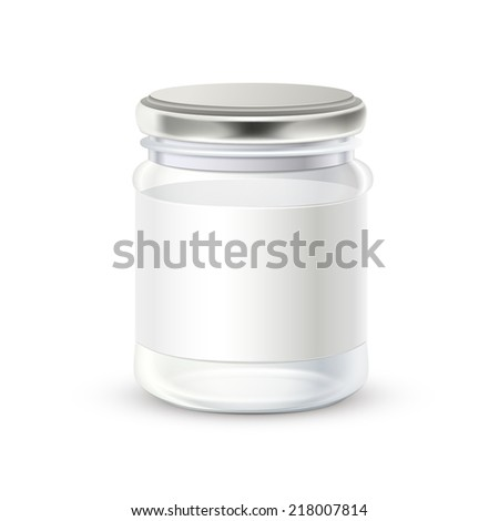 glass bottle with blank label on it isolated over white