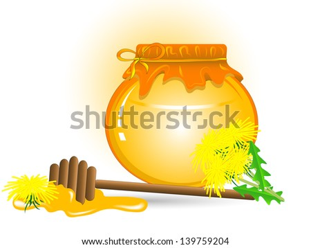 Glass bottle with honey and yellow dandelions