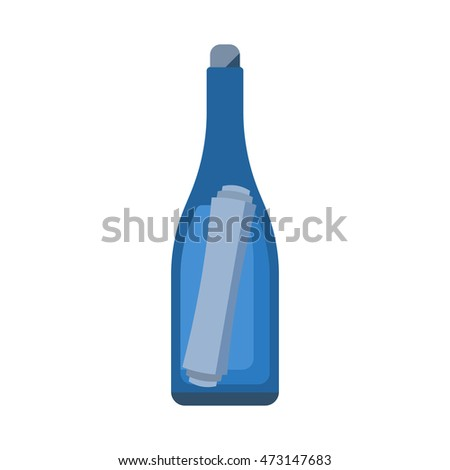 Glass bottle with note vector icon. Rescue floating letter in bottle isolated on white background. Shipwreck message illustration in flat design.