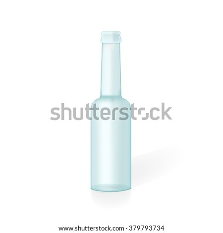 Glass bottle with shdow and reflection. Vector illustration, eps 10