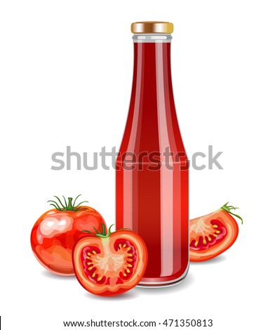 Glass Bottle with Tomato Juice, Sauce or Ketchup. Fresh Vegetables.