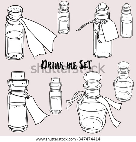 Glass bottles or jars with label. Vector illustration. Ink doodle style sketch. Black and white illustration isolated on white. Drink me concept.