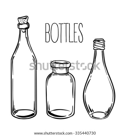 Glass Bottles Vector IllustrationInk On Aged Card Paper Kitchen Objects Doodle Style