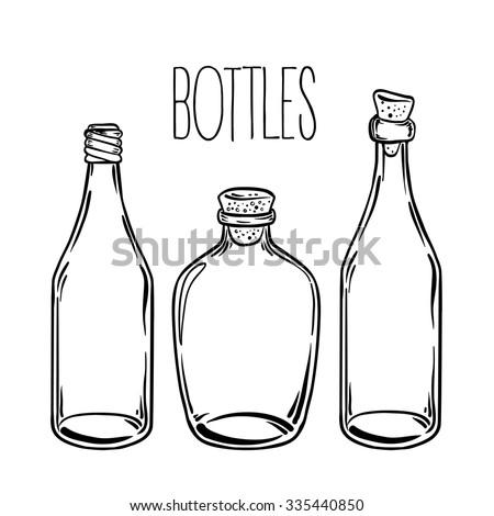 Glass Bottles Vector Illustration On Aged Stock Vector 335440850