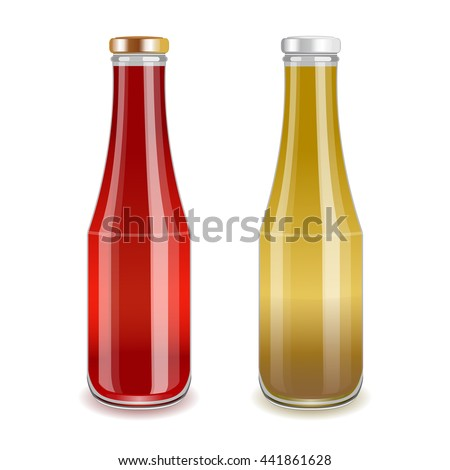 Glass bottles with red and yellow liquid. Tomato sauce or juice, mustard or banana drink. Realistic vector illustration.  - stock vector