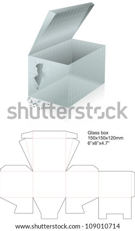 Glass box with broken wall - stock vector