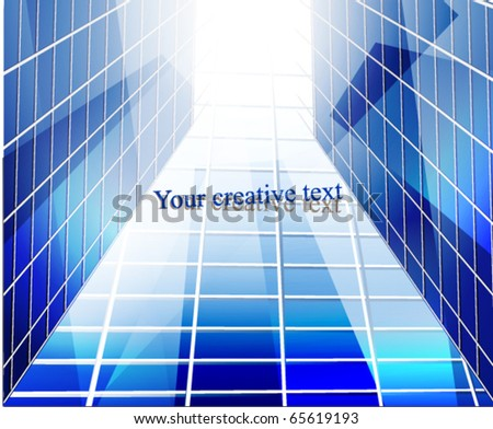 Glass building perspective. Vector Illustration. - stock vector