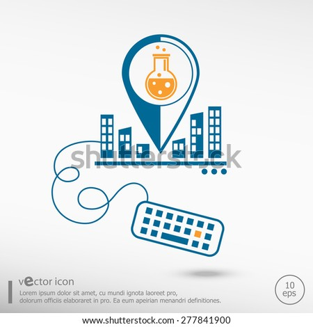 Glass bulb icon and keyboard. Line icons for application development, creative process. - stock vector