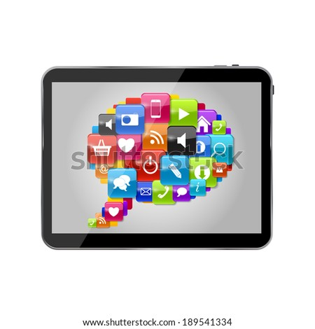 Glass Button Icon Set Speech Bubble on Tablet PC Concept . Vector Illustration