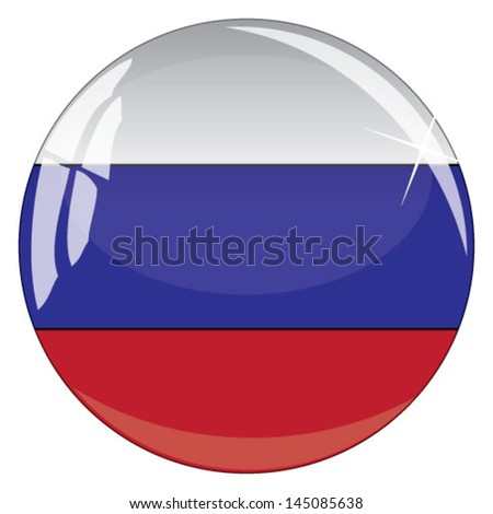Glass button with national flag of Russia - stock vector