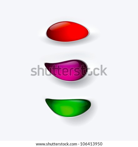 Glass buttons encrusted in light gray background - vector - stock vector