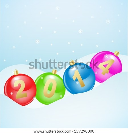 Glass christmas balls with 2014 numbers lying on a snow in a row