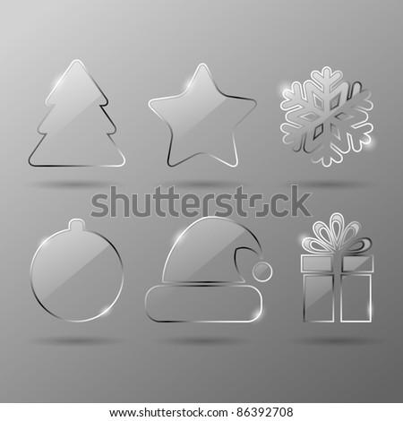 Glass christmas icons - stock vector