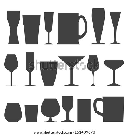 glass collection - stock vector