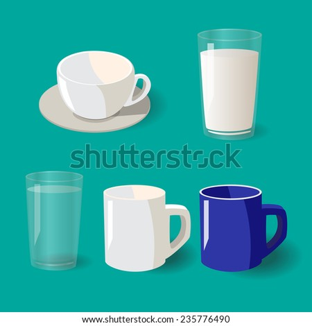 glass collection vector illustration