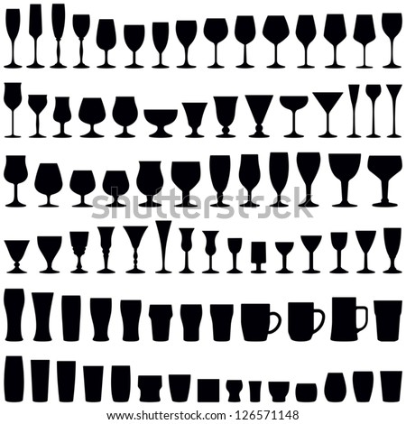 Glass collection - vector silhouette - stock vector