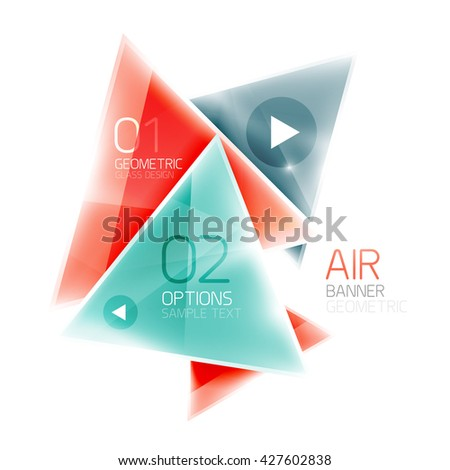 Glass color triangles infographics. Futuristic business design