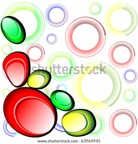 Glass colorful shapes. Vector abstract background
