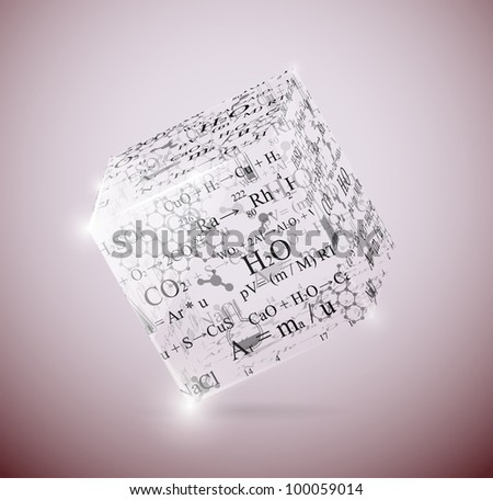 Glass cube with chemical formulas. Eps 10 - stock vector