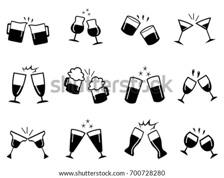 glass cups cheers icons set stock vector 2018 700728280 shutterstock rh shutterstock com cheers clipart black and white cheers clipart png