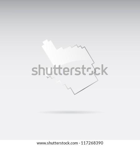 Glass cursor hand - stock vector