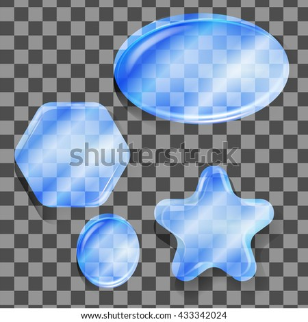 Glass dice, with the height, reflections and shadows. Various forms of dice hexagon, circle, star, polygon. - stock vector