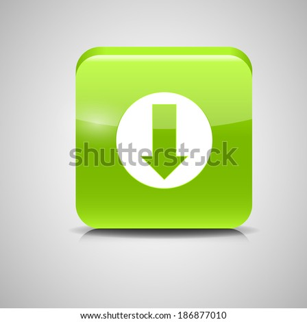 Glass Download Button Icon Vector Illustration - stock vector
