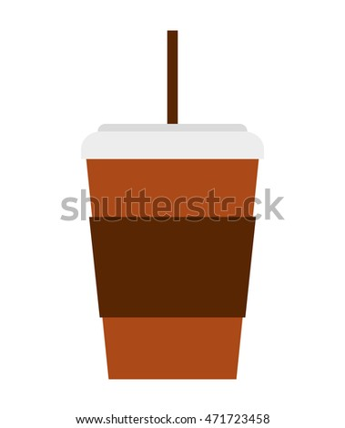 glass drink with straw isolated icon vector illustration design