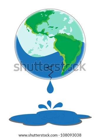 Glass Earth with a broken bottom leaking water. - stock vector
