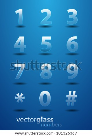 Glass effect vector numbers