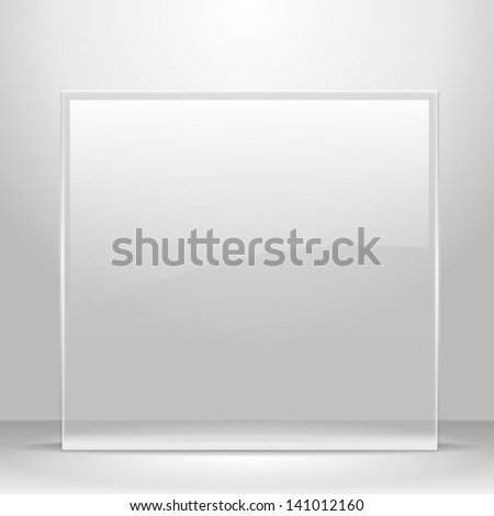 Glass frame for images and advertisement. Empty room. - stock vector
