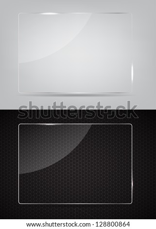 Glass frame on abstract metal background. Vector illustration. - stock vector