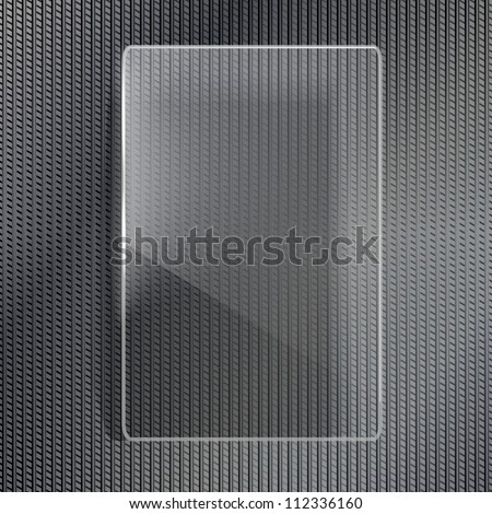 Glass frame on metal background - stock vector