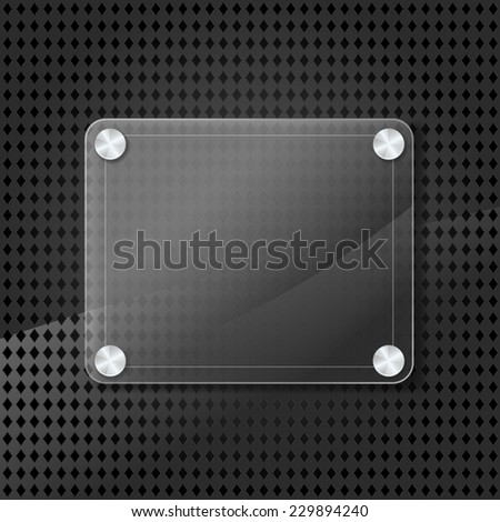 glass frame on metallic background with grid - stock vector