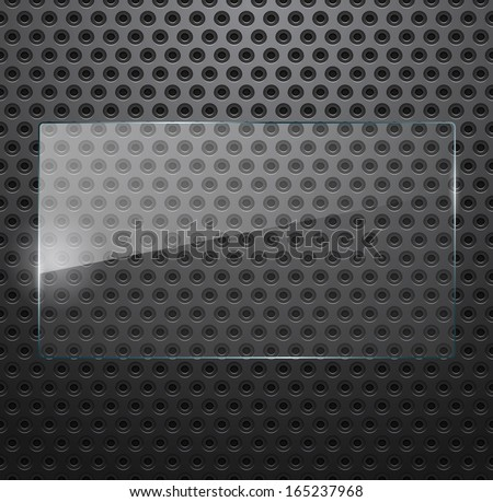 Glass frame on perforated metal background - stock vector