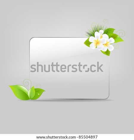 Glass Frame With Leafs And Flowers, Vector Illustration