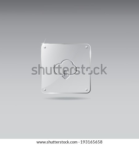 Glass framework with download music icon - stock vector