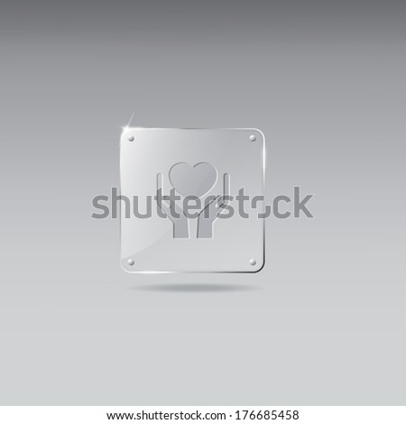 Glass framework with heart in hands icon - stock vector