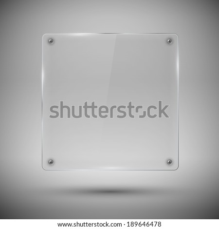 Glass  framework with screw on  gray background. Vector illustration. - stock vector