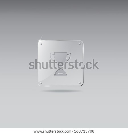 Glass framework with trophy icon - stock vector