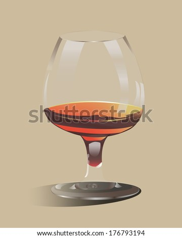 glass goblet filled with delicious alcohol - stock vector